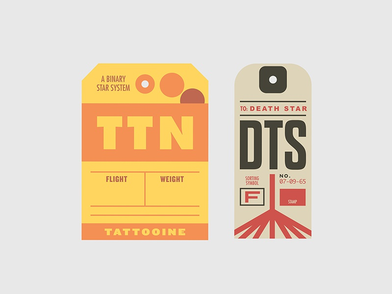 Star Wars Luggage Tags 3 star wars luggage travel tags typography vector branding icon illustration badge tattooine death star