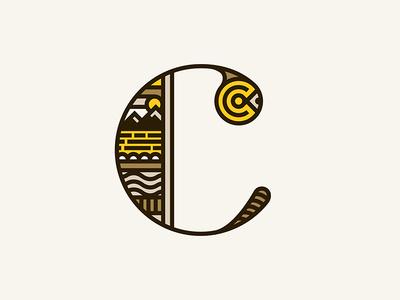 Childish Collective Mark line logotype symbol icon landscape abstract monogram dropcap illustration c gold logo
