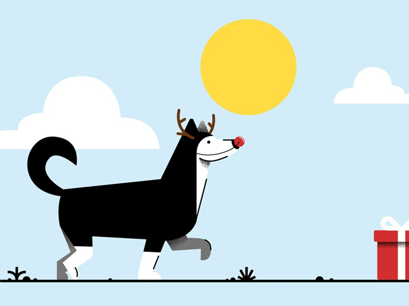 Happy Holiday Pup animation landscape illustration flat gift scene snow christmas holidays pet dog husky