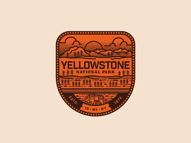 Yellowstone buffalo nature landscape seal illustration icon yellowstone patch travel luggage typography badge