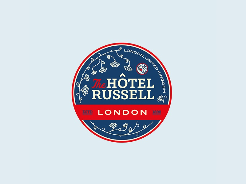 The Hotel Russell royal icon travel patch logo seal london typography flower badge