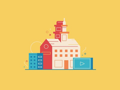 Video Marketing at School simple play illustration marketing video school flat clean college university icon