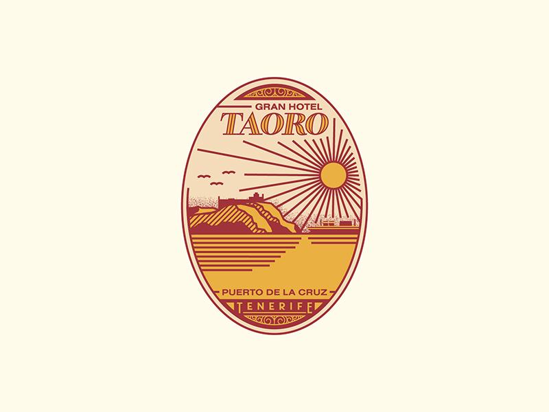 Gran Hotel Taoro logo line icon illustration typography seal badge spain