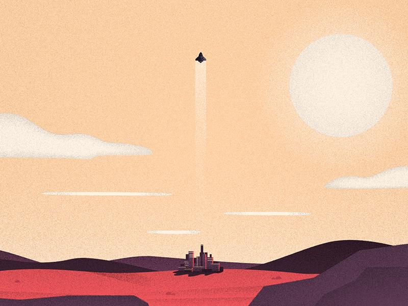 Rocketman rocketship flat vintage city rocket spaceship sun cityscape texture illustration landscape space