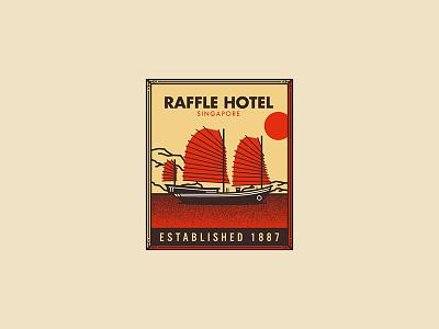 Raffle Hotel landscape futura typography illustration boat icon travel patch seal badge