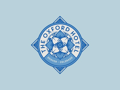 The Oxford Hotel travel patch logo flower icon typography seal badge hotel
