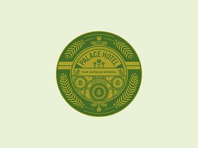 Palace Hotel emblem plant nature illustration icon bee typography seal logo badge