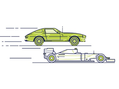 Vroom Vroom icon animation simple driving drive vintage retro illustration line fast racecar car