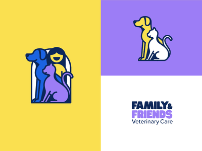Unused Vet Logo fun smile human logo animal pet simple bold line illustration cat dog