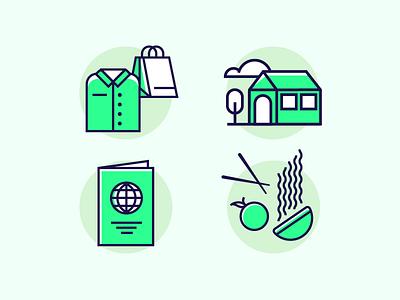 Sustainability icons food sustainability eco simple shop living line world travel fashion shirt icon