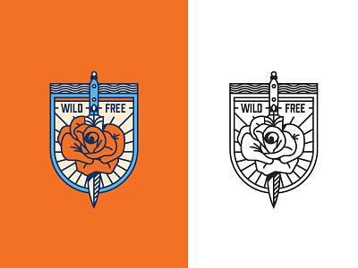 WIP Enamel Pin rose logo badge simple line free wild dagger knife illustration flower