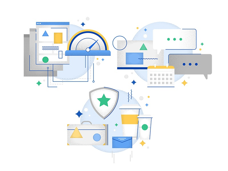 Coworking Icons line web flat texture security meeting internet stars business data illustration icon