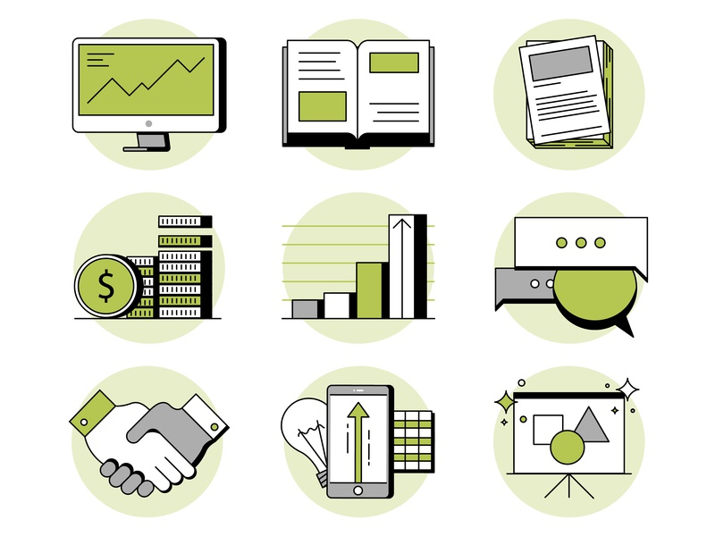 Education and growth. energy green renewable economy learning trade forum computer business electric line branding simple illustration icon