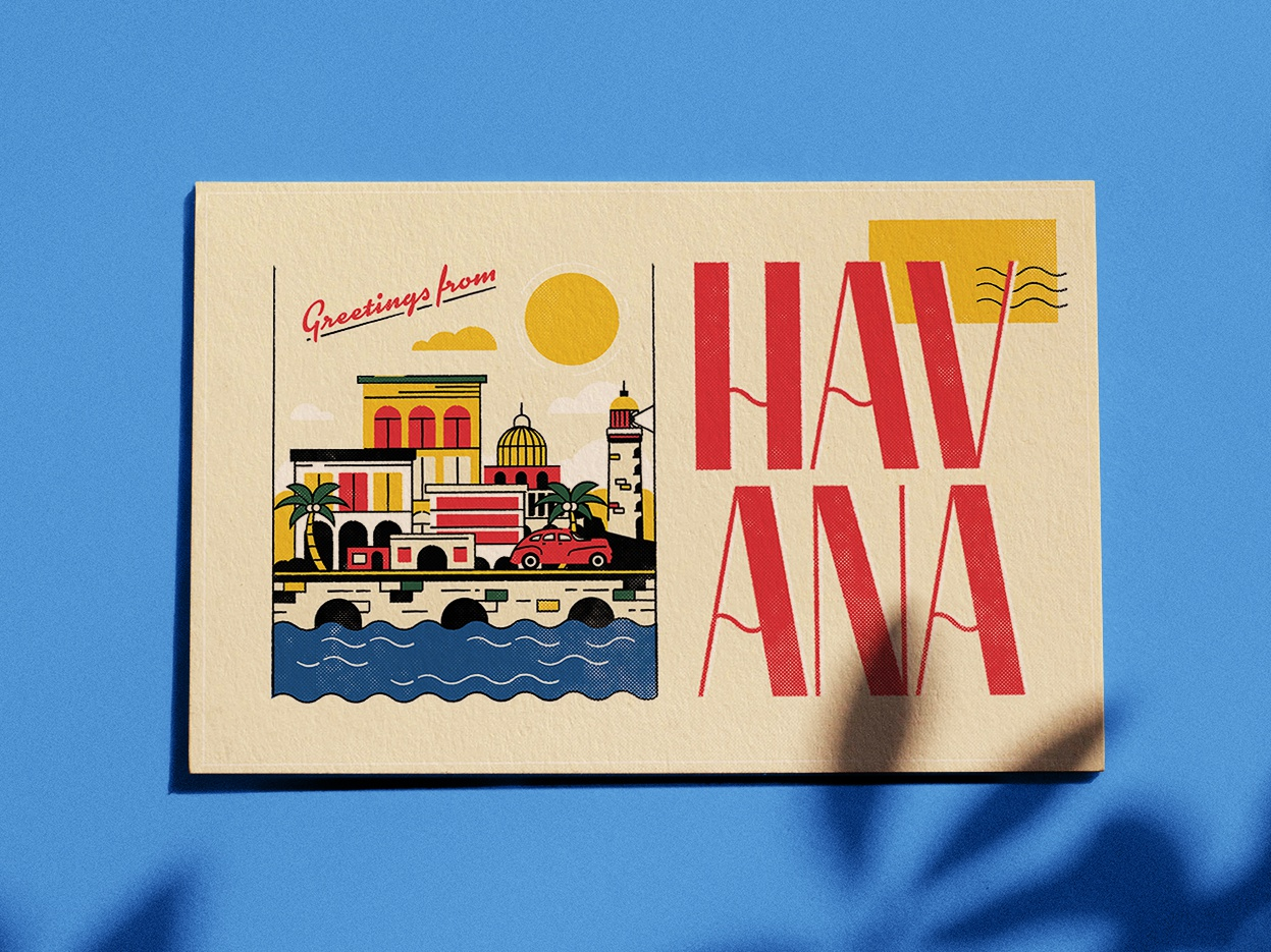 Havana Typeface simple line havana retro vintage old city cuba illustration print postcard download free typeface font