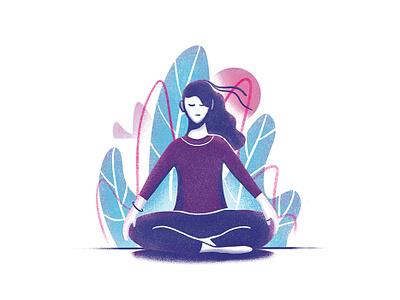 Motivation meet Meditation. procreate flat line simple self care peace zen illustration texture nature yoga meditation