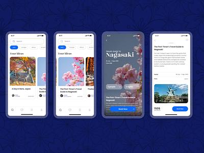 Travel app -Mobile app interface clean tour booking screen travel design ux ui application app