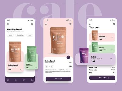 Coffee app application bag order clean light photoshop figma interface app design uiux coffee