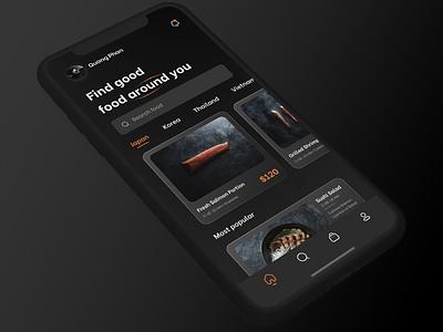 App food darktheme salmon sushi food figma mockup japan app clean application interface graphic design