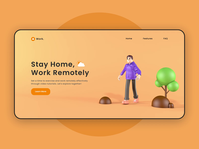 Work from home interface motion graphics 3d animation