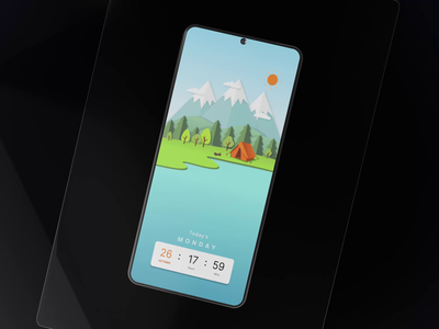Lock Screen landscape night day uxui android application design illustration interface motion graphics 3d animation ui