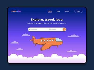 Dreamcation travel travel uxui animation ui logo illustration figma clean application design interface