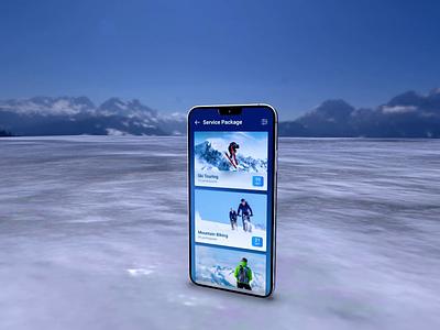 Mountain Biking mountain bike hotel service winter interface application design clean figma motion graphics 3d animation ui