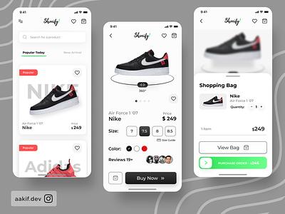 Shoeify App 👟 modern mobile app design mobile ui ui shopping kit ios ecommerce shoesapp minimal uidesign appdesigner uitrend dailyui design inspiration concept app design uiux