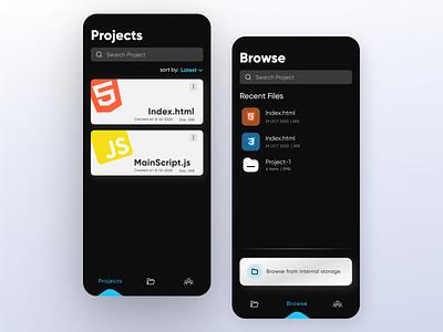 CodeEditor App uiux minimal inspiration dailyui appdesigner uitrend trends appdesign ui ux dark uxdesign uidesign ux ui editor codeeditor