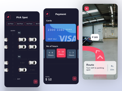 AR Parking App Design vr ar app parking app minimal dailyui appdesigner uidesign design concept app design uitrend inspiration uiux