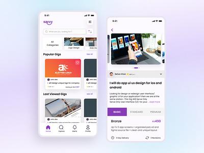 Savvy App (Freelancing platform) 📱 mobileuidesign mobileappdesign uxdesign uidesigns app appdesigner app design minimal design concept uidesign uitrend inspiration uiux