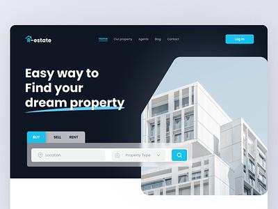 R-estate Landing Page Design uiuxdesign websitedesign webuidesign realestate landingpage minimal concept uidesign uitrend inspiration uiux
