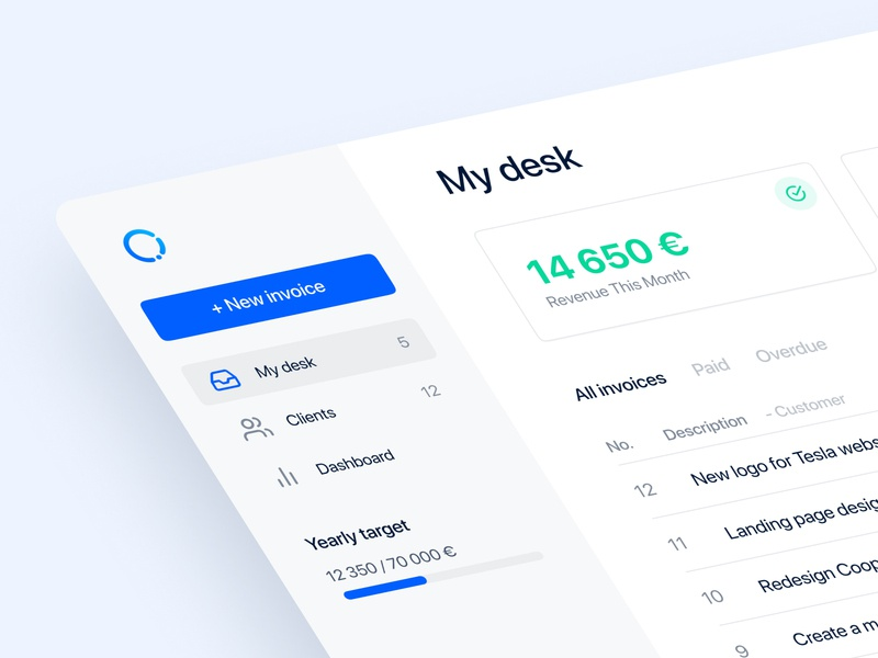 Incomee 2.4 - Super simple invoicing app startup webapp design freelancer clean ui ux finance app invoice app minimal
