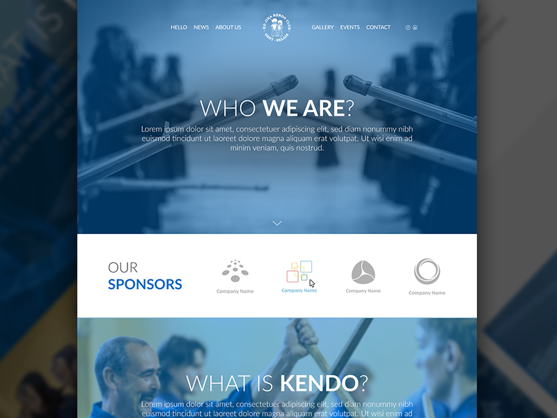 Redesign kojika.be  responsive kendo club design flat minimal layout homepage clean website redesign blue
