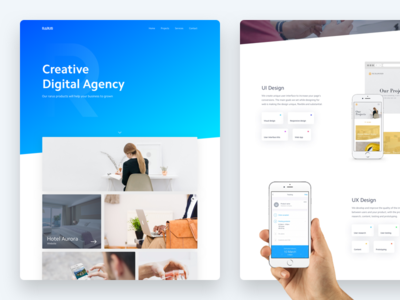 Digital Agency - Homepage startup homepage design desktop web blue gradient digital agency ui ux minimal
