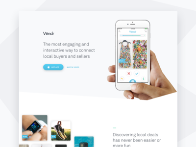 Vendr App - Landing page e-commerce startup website landing page iphone app
