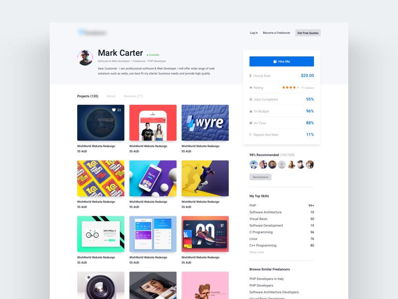 Portfolio Page - Freelancer® hire portfolio freelancer profile interface clean web ux ui