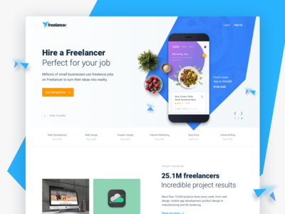 Homepage Exploration - Freelancer® landing homepage minimal freelancer ui ux blue website platform