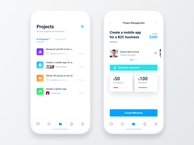 Project Management - Freelancer® ux management project mobile minimal ios freelancer flat clean app