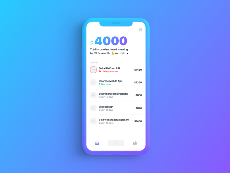 Incomee - Income Tracking App minimal clean earning income freelance freelancer tracking ios app