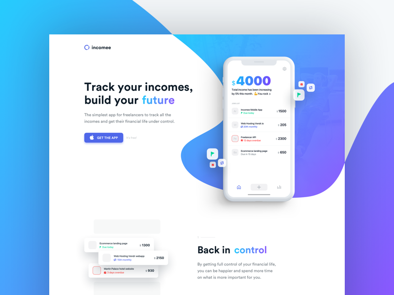 Incomee landing page homepage web landing minimal clean earning income freelance freelancer tracking ios app