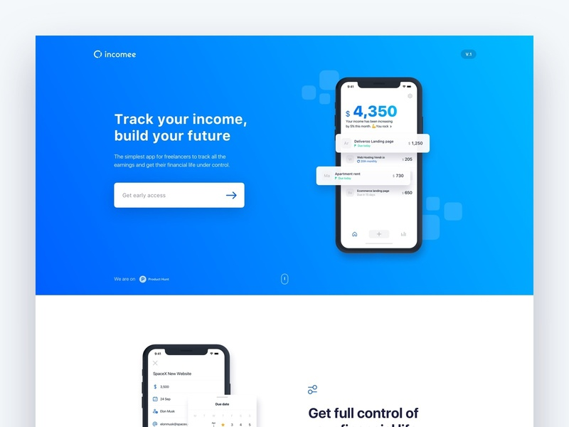 New Incomee App landing page interaction freelancer homepage modern web desktop design blue webflow mobile website app minimal ux ui landing page