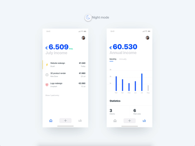 Income app - Dark Mode finance income animation adobe xd startup iphone blue freelancer mobile flat minimal ios design ux ui clean app