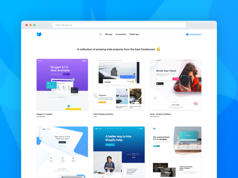 Buona.co - A collection of the best freelancers' side projects gallery designer developer landing side project showcase web webapp startup responsive freelancer blue website homepage flat design ux ui clean minimal