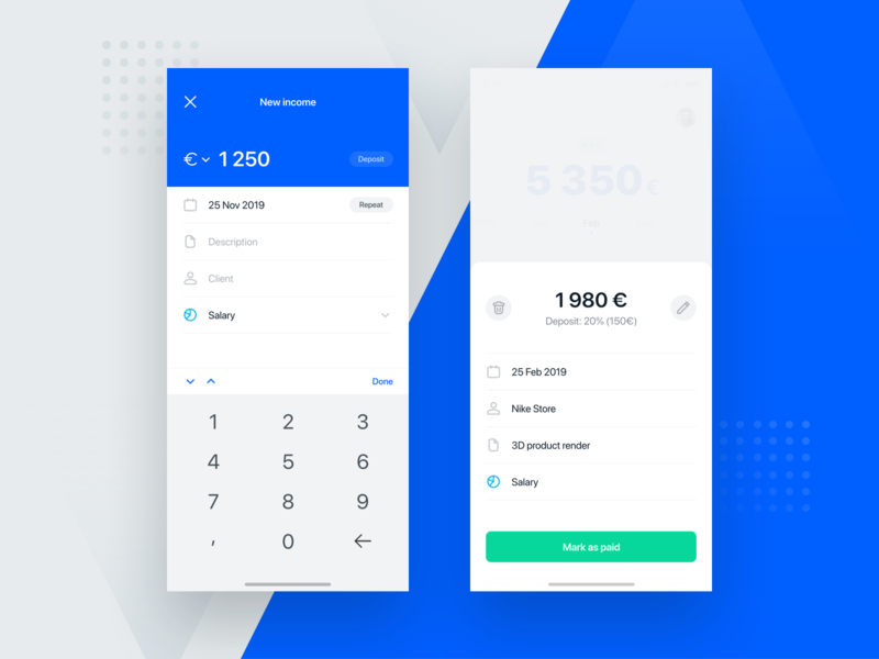 Incomee App #3 details form income tracker app finance app startup freelancer mobile minimal clean ios flat design ux ui app