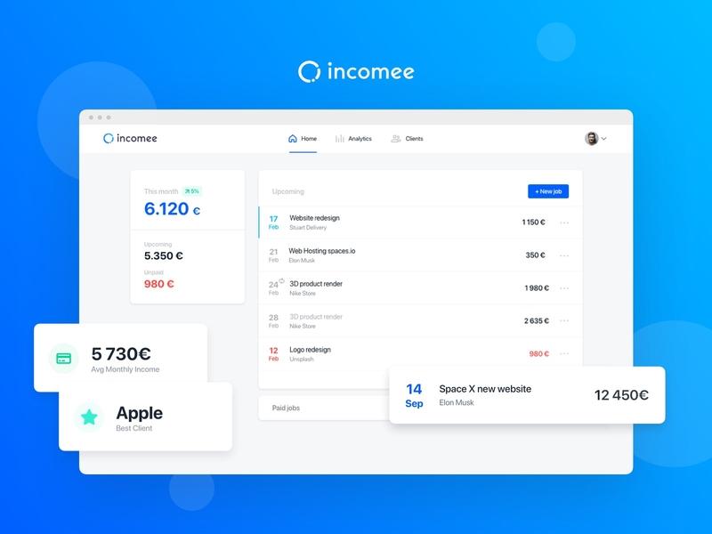 Incomee Web invoice jobs finance tracking app startup freelancer blue flat design ux ui app minimal clean webapp