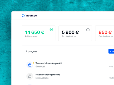 Incomee 2.0 - Super simple invoicing app for creatives invoice finance startup webapp freelancer blue flat design app ux ui minimal clean