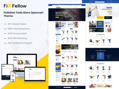 Fixfellow  Tools Store OpenCart Theme equipment illustration blog design business ecommerce design opencart theme store tools opencart themes
