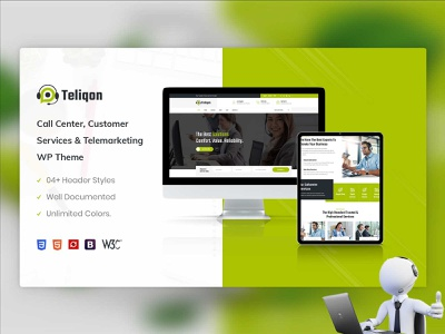 Teliqon | Call Center & Telemarketing WordPress Theme illustration responsive website ux responsive design wordpress development telemarketing call center woocommerce ecommerce design wordpress theme