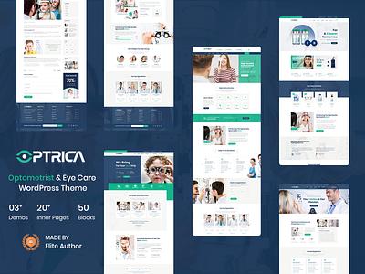 optrica, Optometrist & Eye Care WordPress Theme uidesign medical  websites uiux design corporate eye care woocommerce wordpress development wordpress theme responsive design