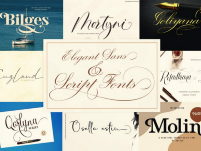9 Elegant Sans & Script Fonts - only $9!